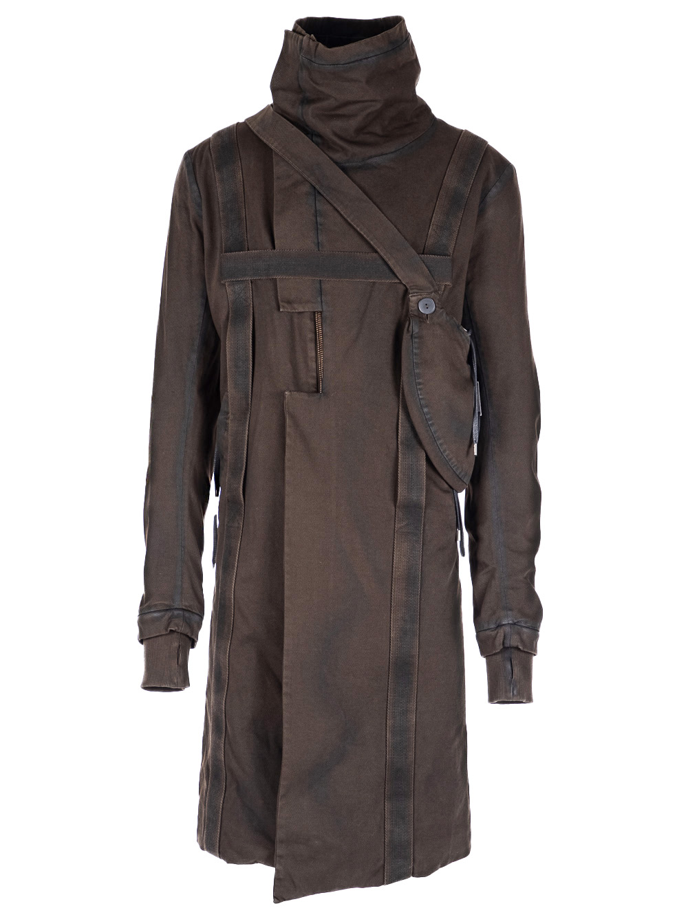 HARNESSED ZIP UP COTTON COAT