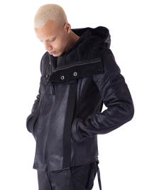 HARNESSED VEGAN SHEARLING JACKET