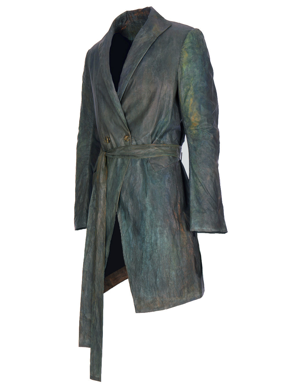 OXIDIZED COPPER BELTED COAT
