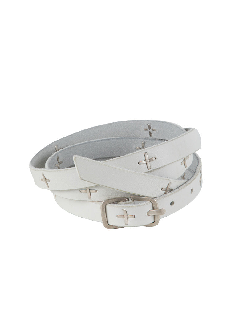 BUCKLE CROSS STUDDED SKINNY BELT