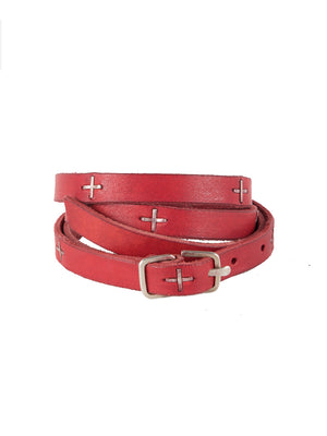 S BUCKLE CROSS STUDDED SKINNY BELT