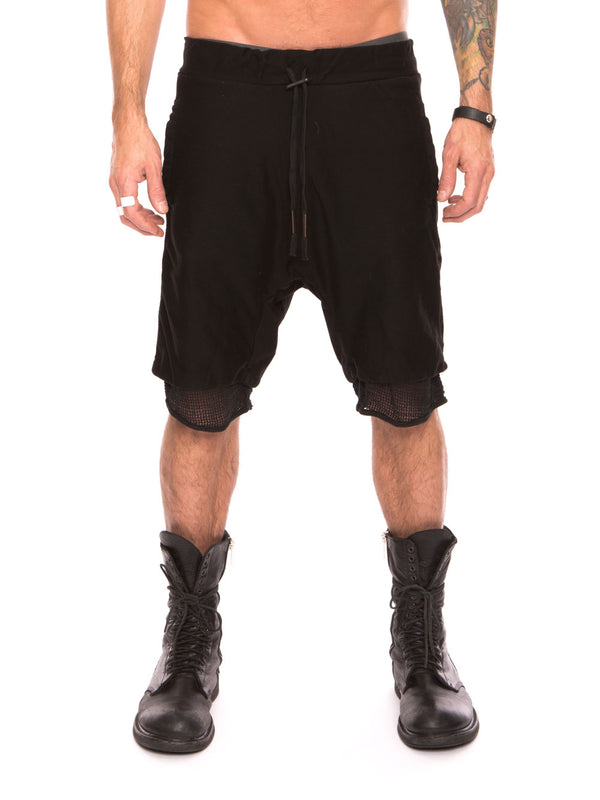 MESH LINED DROP CROTCH SHORTS