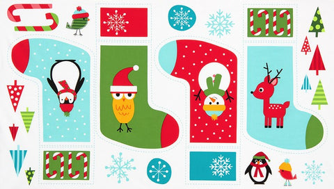 Jingle Stocking Panel in Holiday - Na ponta d'agulha