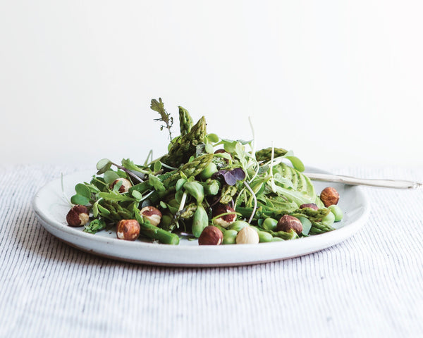 The Greenhouse Cookbook Giveaway + Recipe | Pea Shoot and Asparagus Salad with Toasted Hazelnuts