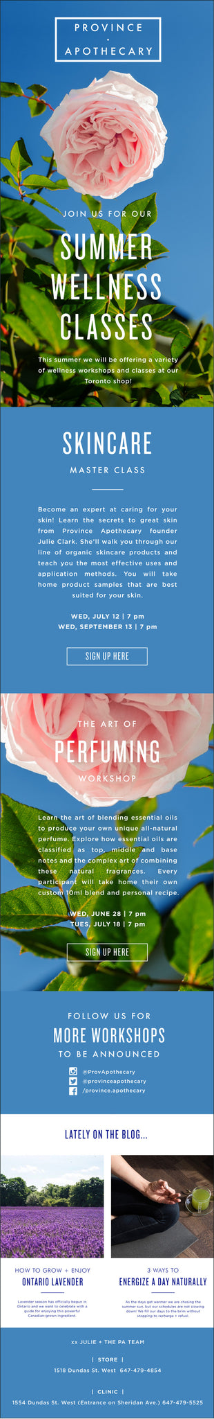 JOIN US FOR OUR SUMMER WELLNESS CLASSES