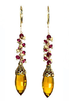 Citrine and Pink Tourmaline Earrings