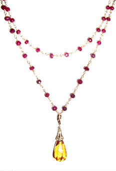 Large Citrine Necklace with Rubies