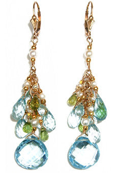 Blue topaz Earrings with clusters of topaz, peridot and apatite briolettes.