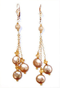 Golden coin pearl Earrings