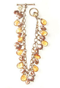 Citrine and Golden Coin Pearl and Keshi Pearl Bracelet