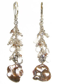 Large Golden Keshi Pearl Earrings with White Topaz and pearl clusters