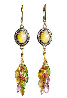 Opal Diamond Peridot Citrine and Pink Topaz earrings