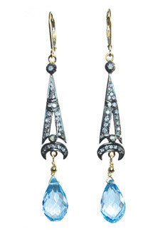 Art Deco Pave Diamond Swiss Blue Topaz Earrings