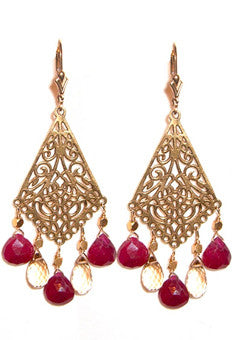Ruby and citrine chandeliers