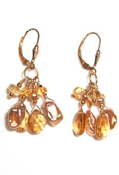 Golden keshi pearl and citrine earrings