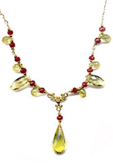 Lemon Topaz and Ruby Necklace