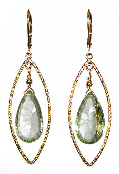 Green Amethyst star cut Briolette Earrings with Marquise Gold hoops.