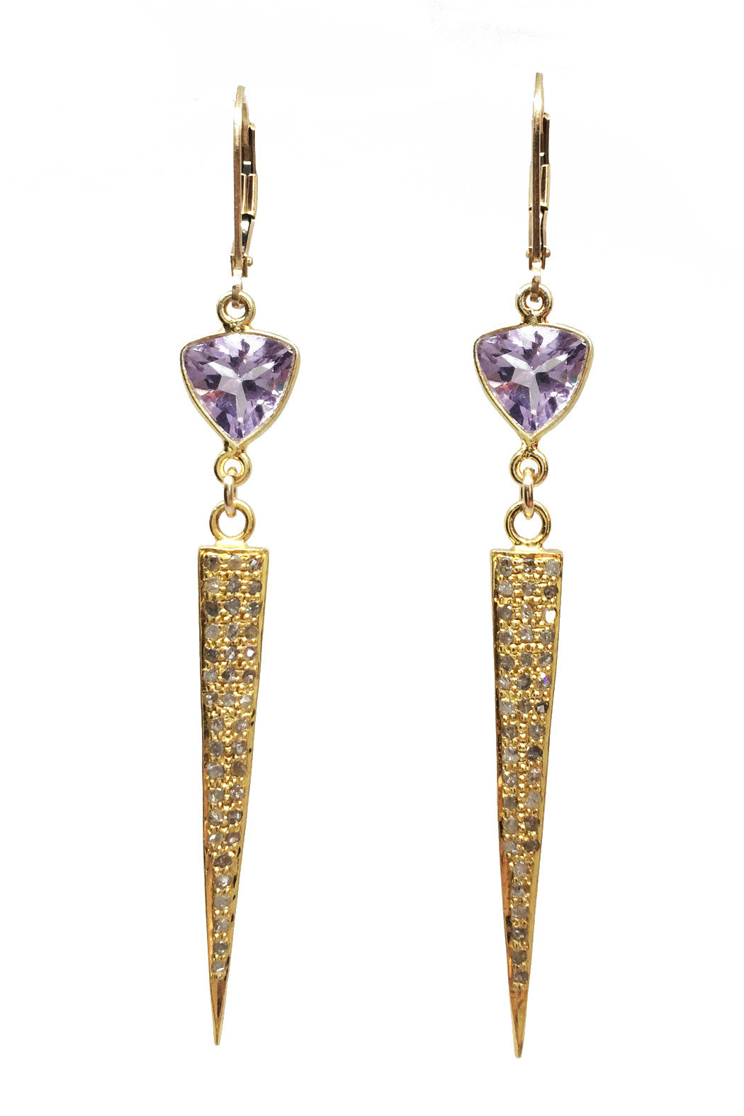 Amethyst stiletto earrings