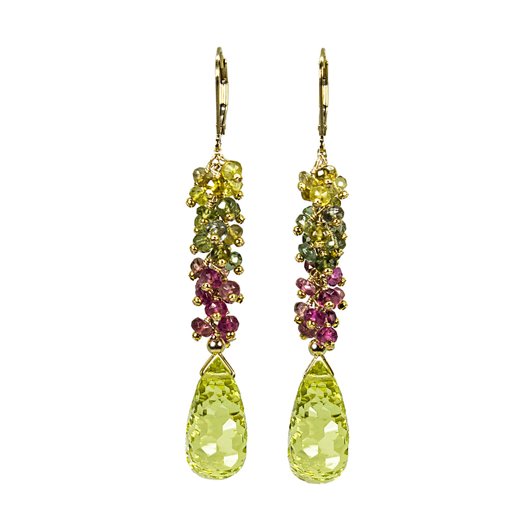 Lemon Quartz and Multi-colored Tourmaline Earrings