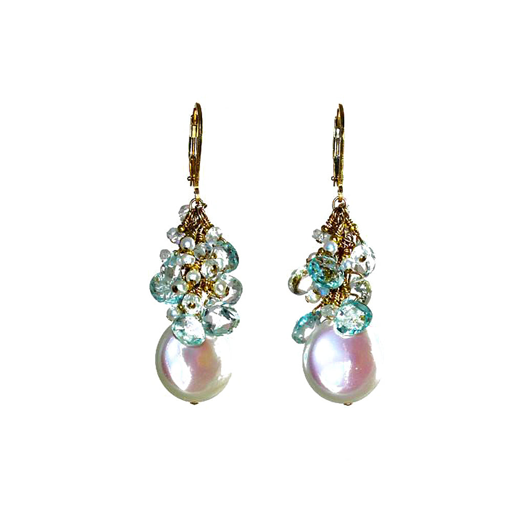 Ivory Coin pearl Earrings with aquamarine rondelles and akoya keshi pearls