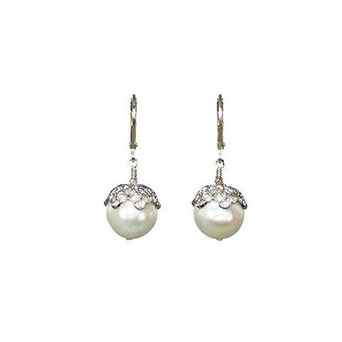 12mm Crown Pearl Earrings in Sterling Silver