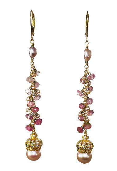 Crown Pearls with Pink Tourmaline Earrings