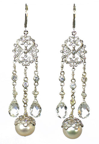 Filagree with Crowned Pearl Earrings with white topaz
