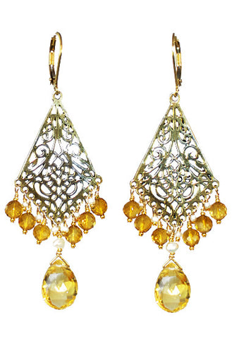 Citrine Filagree Earrings