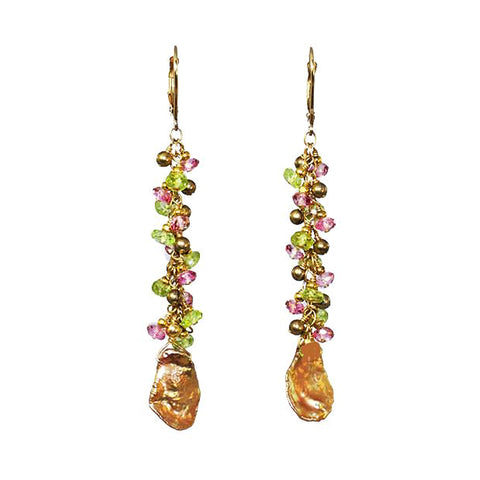 Golden Keshi Pearl Earrings with Pink Topaz, Peridot and Pearls