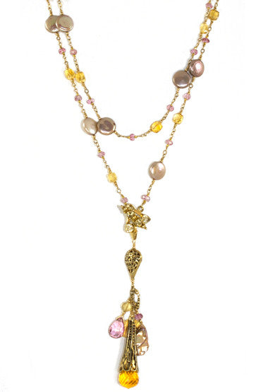The Magic Necklace from the Sautoir Collection- Citrine, Pink Topaz and golden coin pearls...