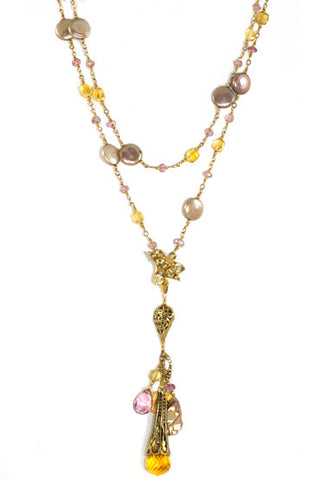 The Magic Necklace- Citrine, Pink Topaz and Golden Pearls