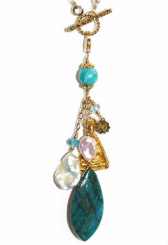 Chrysocolla, Pearl and Amazonite Lariat Necklace