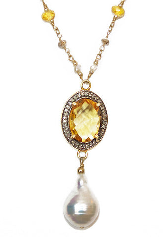 Citrine with pave Diamond Necklace with Baroque Pearls