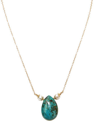Chrysocolla and pearl Necklace!