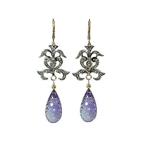 Pave Diamond and Amethyst Earrings