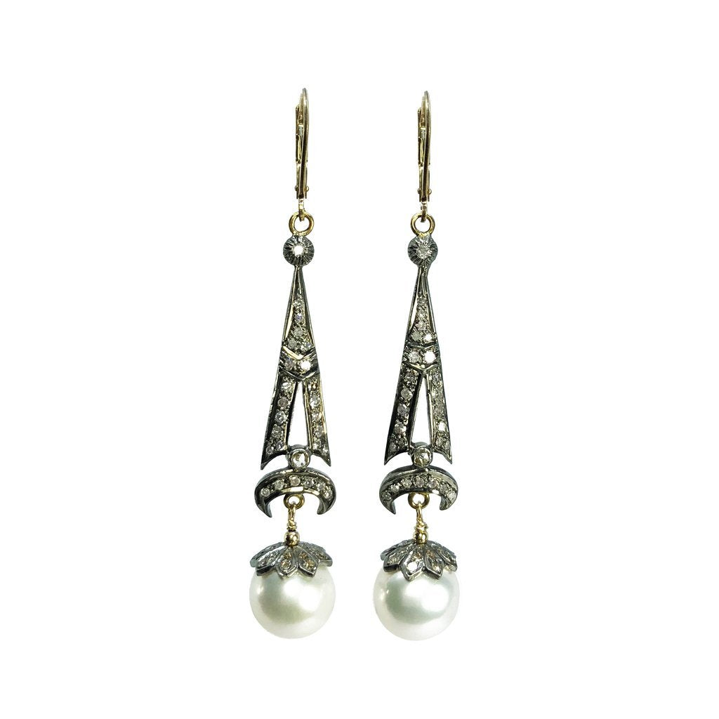 Art Deco Pave Diamond and Crowned Pearl Earrings