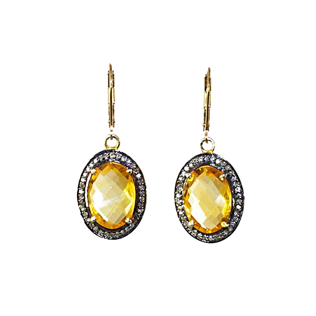 Citrine Pave Diamond Earrings