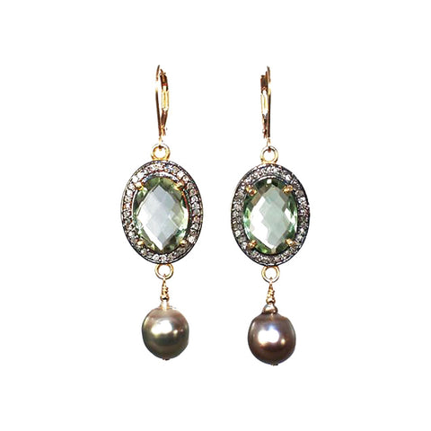 Green Amethyst (Prasiolite) Earrings with pave diamonds and Tahitian pearl drops