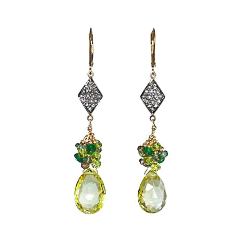 Pave Diamond, Emerald, Peridot and Lemon Topaz Earrings