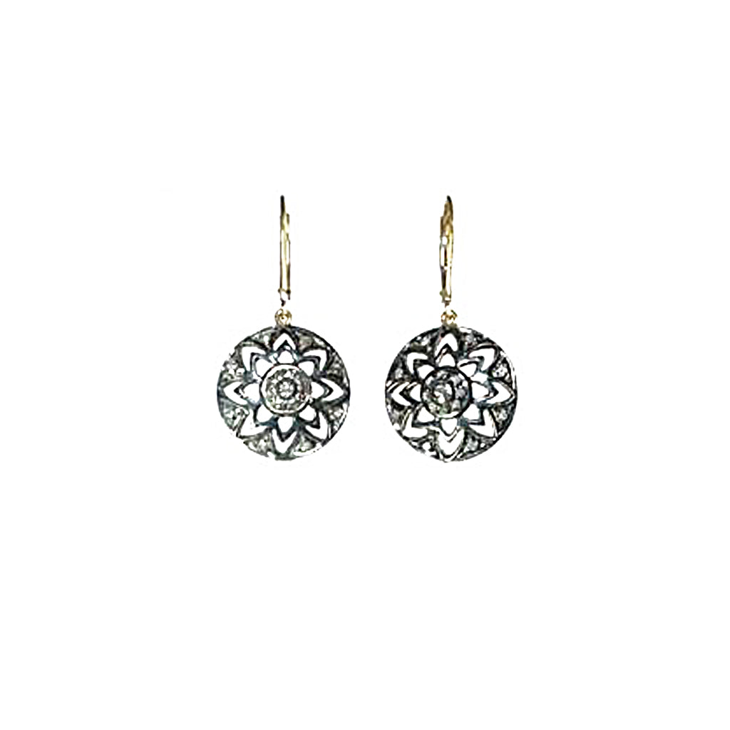 Pave Diamond Flower Earrings