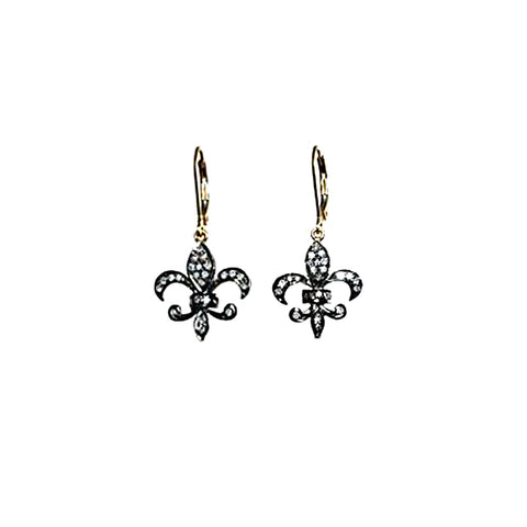 Pave Diamond Fleur Di Lis Earrings