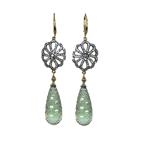 Pave Diamond Green Amethyst (Prasiolite) Earrings