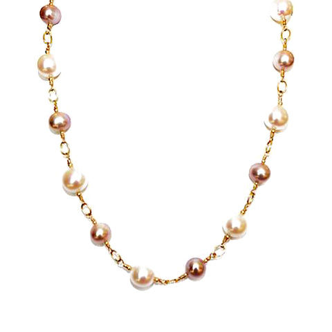 Ivory and All Natural Pink Pearl Necklace