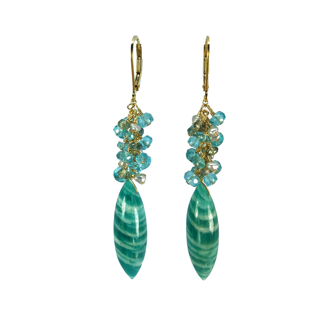 Amazonite, Apatite, Sapphire and Akoya Keshi Pearl Earrings