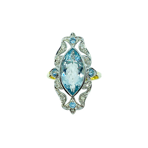 Marquise cut Aquamarine, Diamonds & Blue Topaz in 14K gold