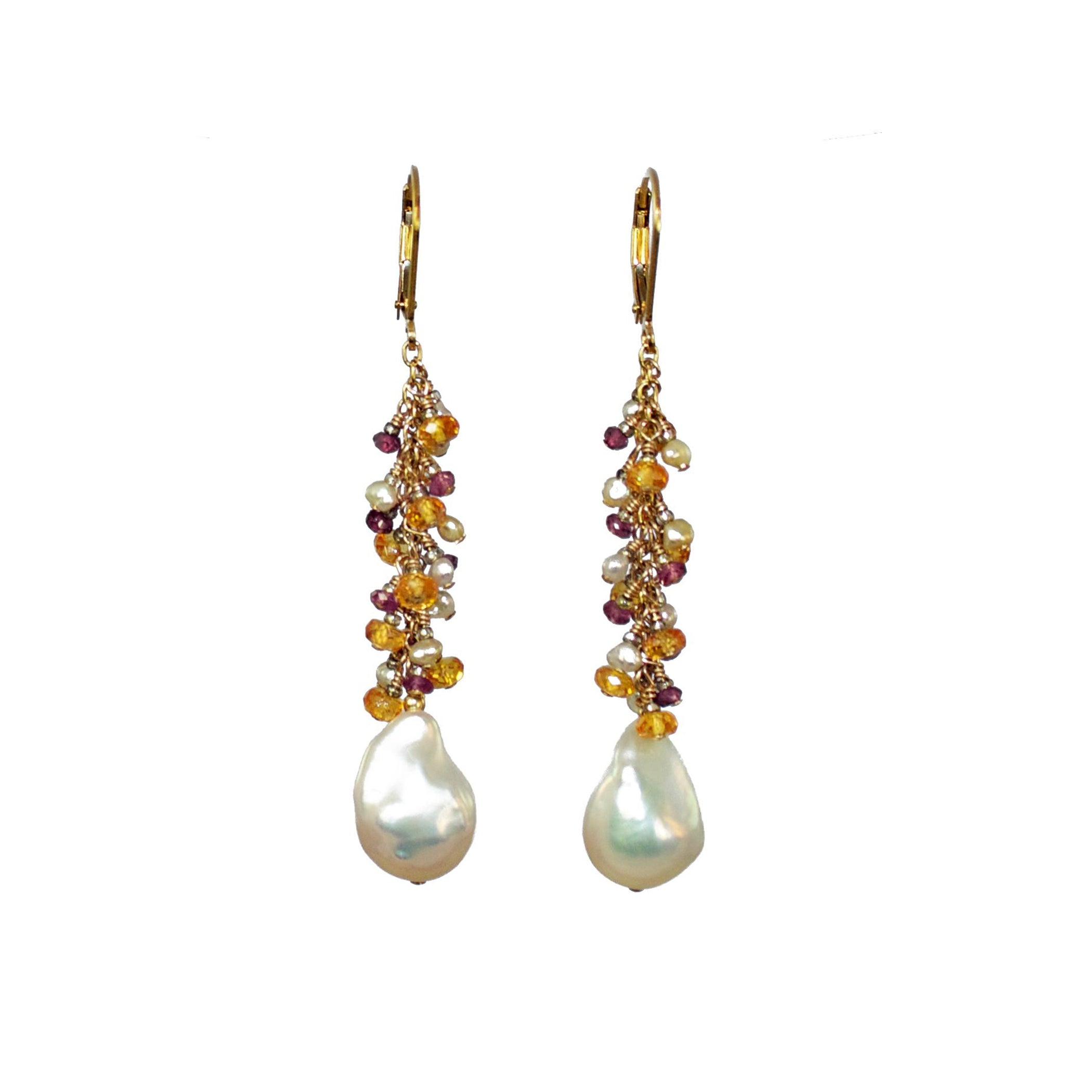 Baroque Pearls and Multi-Colored Garnet Clusters