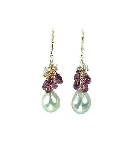 Baroque Pearl, Malaia Garnet & Japanese Akoya Keshi Pearl Earrings