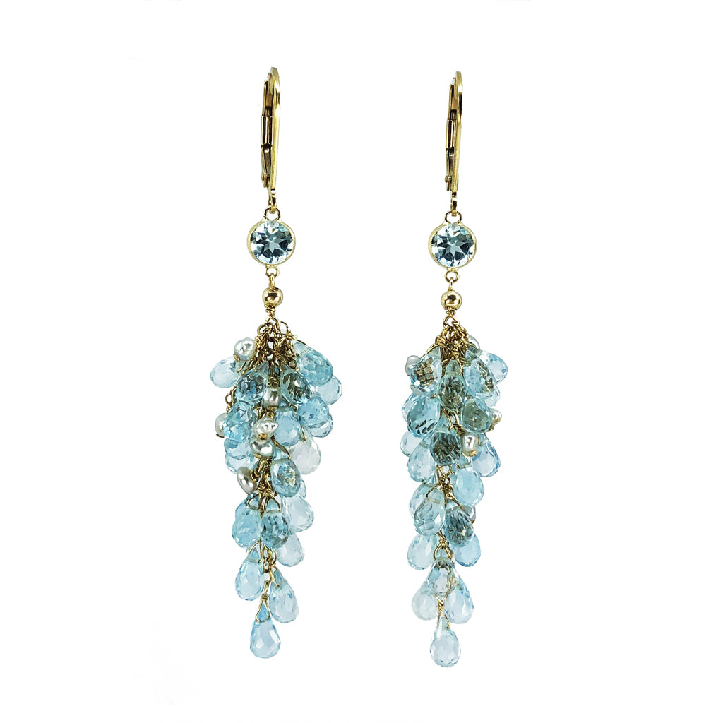Swiss Blue Topaz Earrings-in 14K gold!