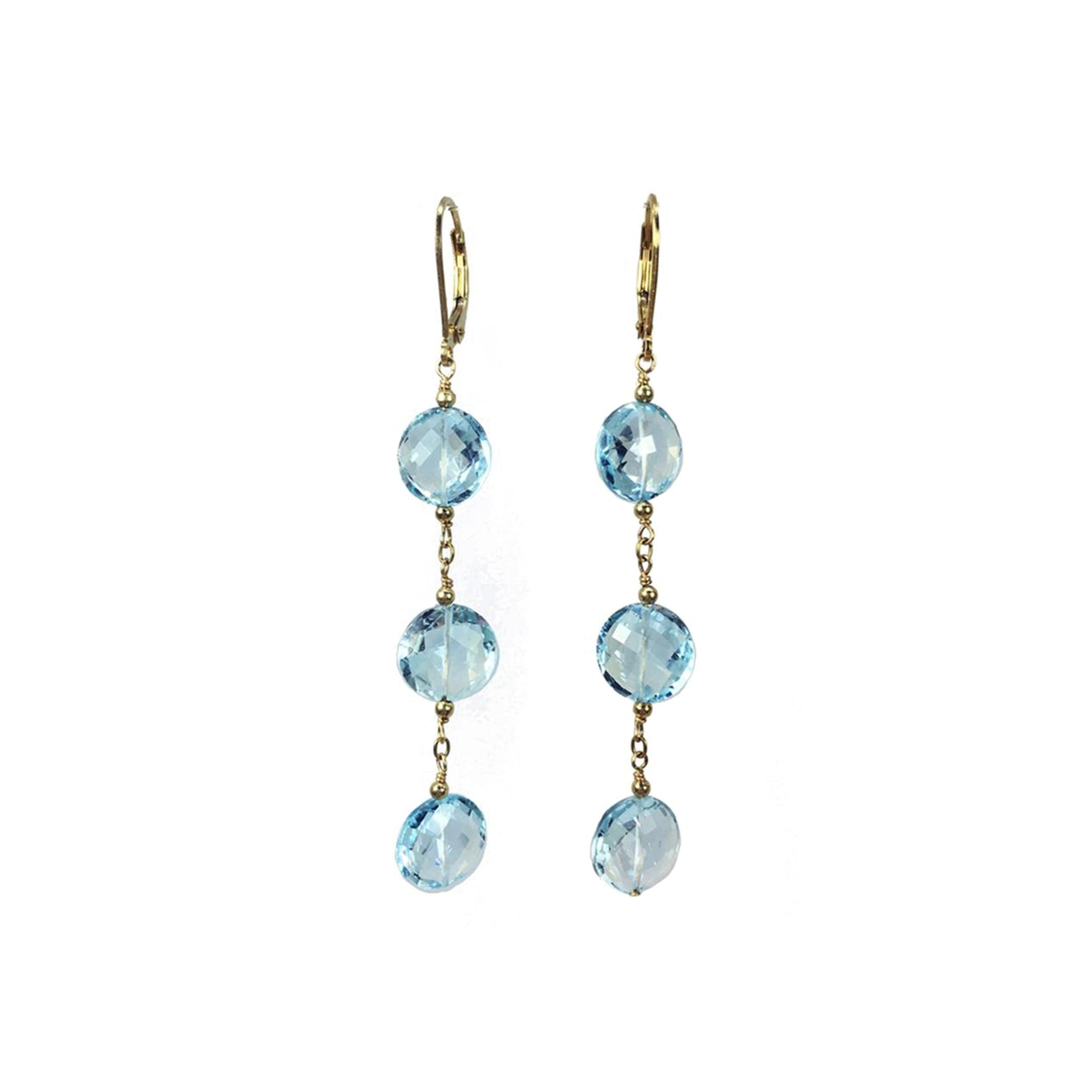 Swiss Blue Topaz Coin earrings