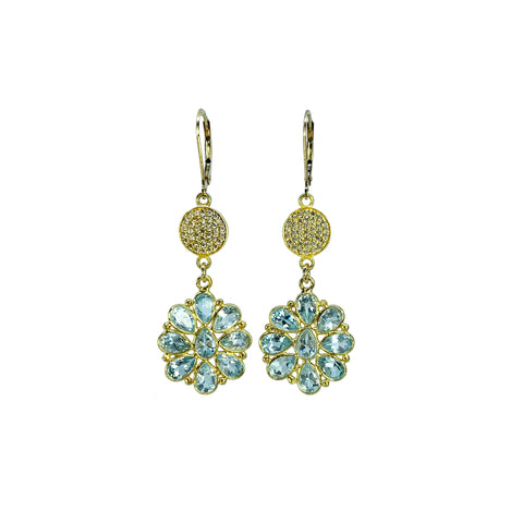 Blue Topaz Flowers with Pave White Topaz Discs